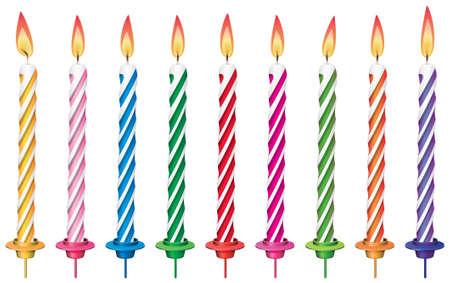 geburtstagskerzen:  Reihe von bunten Geburtstagskerzen Illustration