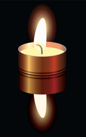 vector illustration of a small burning candle Vector
