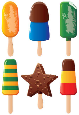ice lolly: set of colorful fruit and chocolate popsicles