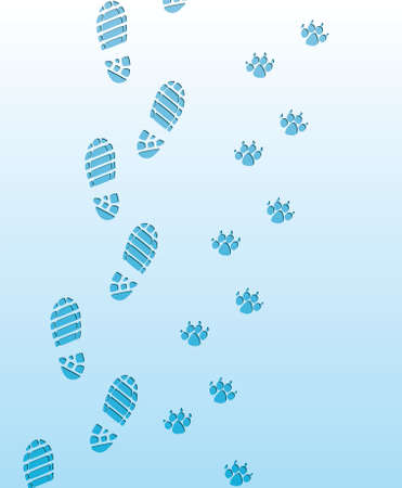 vector foot prints of man and dog on the snow Vector