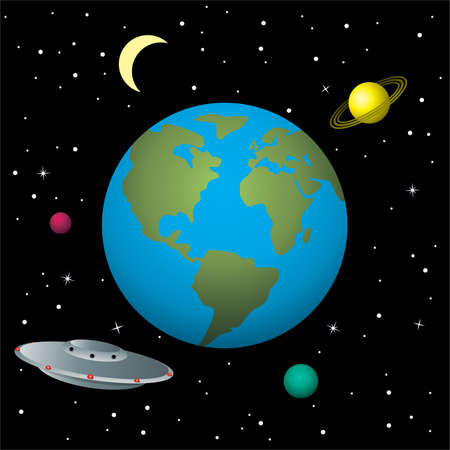 vector illustration of ufo in space Stock Vector - 8487001