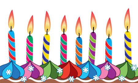 vector row of birthday candles on cake Stock Vector - 8487002