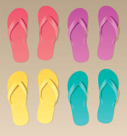 vector set of colorful flip flops Stock Vector - 8487004