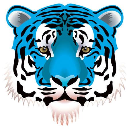 tiger head: vector illustration of blue tiger head