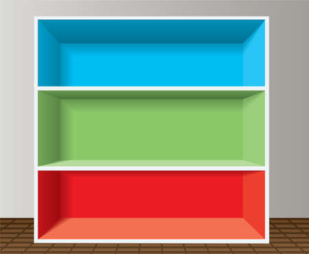 colorful empty bookshelf Vector