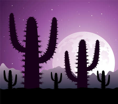 cactus in desert at night Stock Vector - 8492700