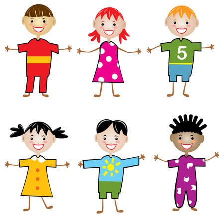 rows of young children Vector