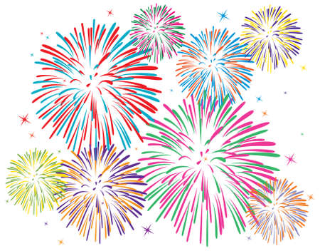 fireworks:  colorful fireworks on white background
