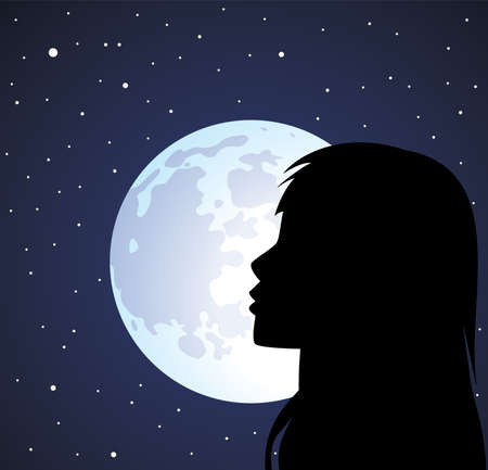 silhouette of a face of a girl Vector