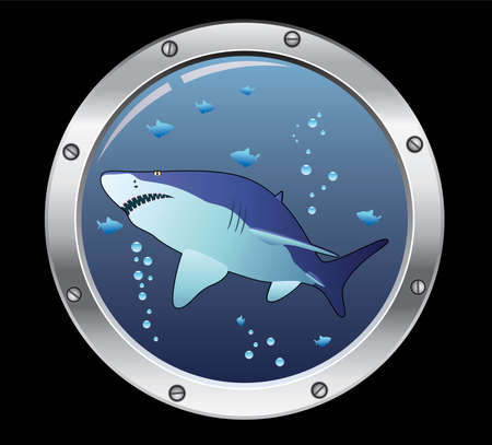 danger to life: vector porthole and a shark Illustration
