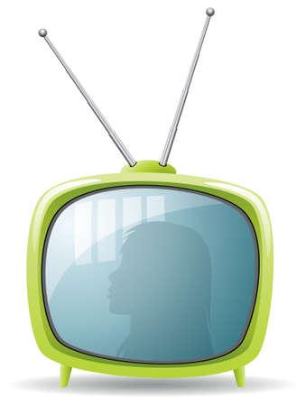 ensemble de tv rétro vecteur vert