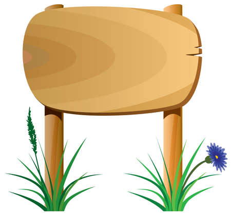vector wooden elements, grass and a flower Vector