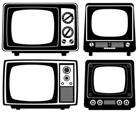 tv retro: retro tv set Illustration