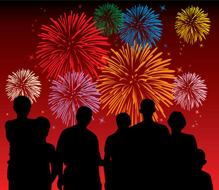 people watching fireworks Vector