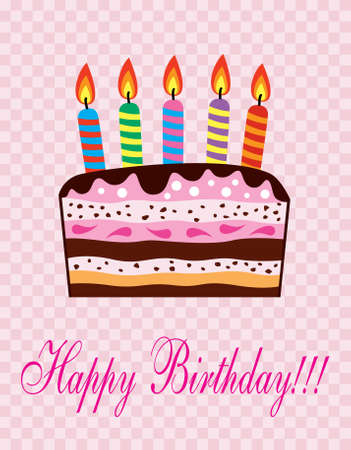 birthday cake with candles Stock Vector - 8493384