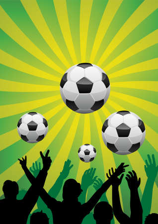 soccer background with silhouettes of people and balls Vector