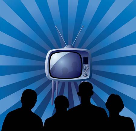 television antigua: familia ver conjunto de tv retro