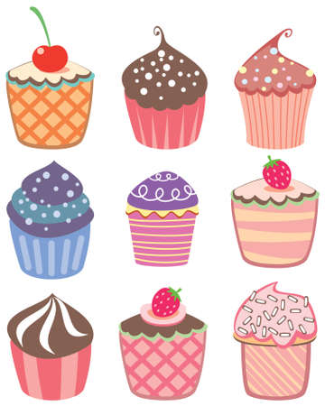 sprinkle: various vector cupcakes set Illustration