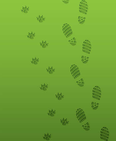 vector foot prints of man and dog Vector