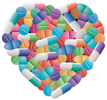 vitamins pills: vector pills and capsules in a form of a heart