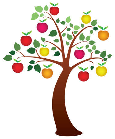 vector apple tree with fruits