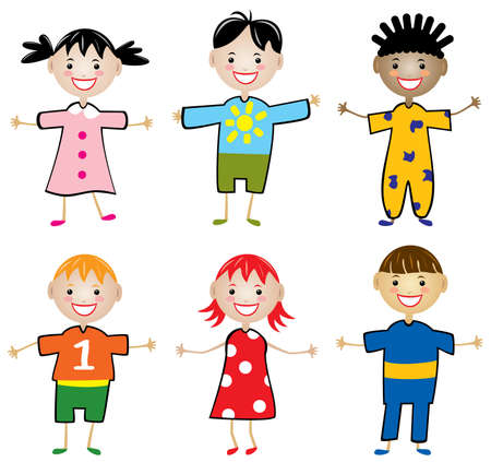 rows: vector rows of young children Illustration