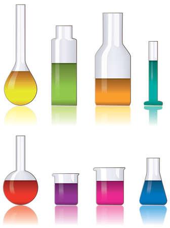vaso de precipitado: conjunto de vector de cristaler�a de laboratorio