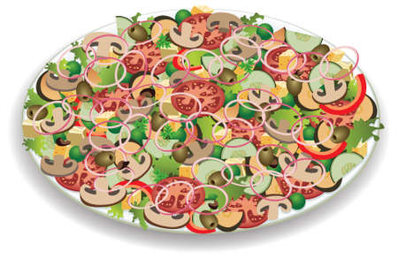vector plate with vegetable salad Vector