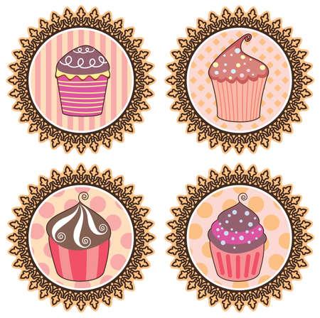vector set of retro cupcakes Stock Vector - 8509780