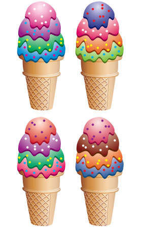 frozen food: vector colorful icecream cones with sprinkles