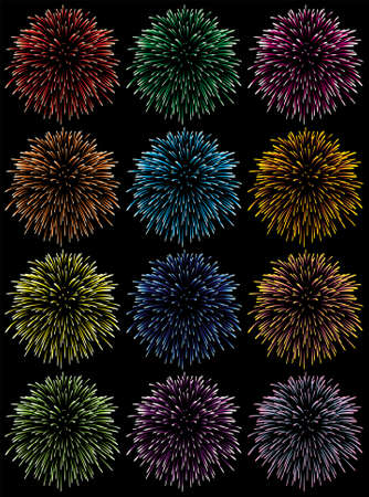 colourful fire: vector set of colorful fireworks  Illustration