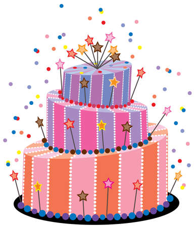 pink cake: vector big birthday cake
