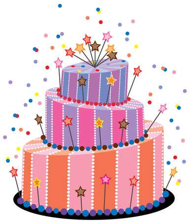 happy birthday cake: vector big birthday cake