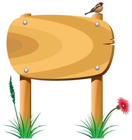 vector wooden elements, grass, flower and a bird Vector