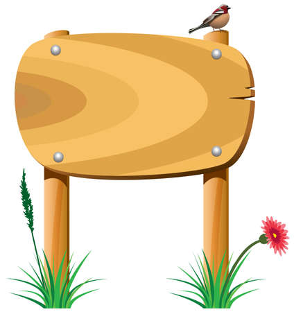 wild nature wood: vector wooden elements, grass, flower and a bird Illustration