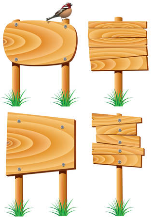 wild nature wood: vector wooden elements, grass and a bird Illustration