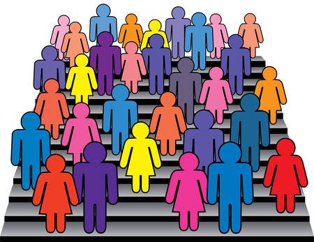 familia en la iglesia: vector multitud de hombres y mujeres en escaleras