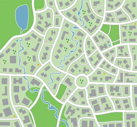 a rural community: vector city map Illustration