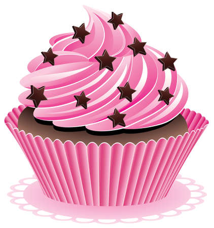 vector pink cupcake with chocolate sprinkles Vector