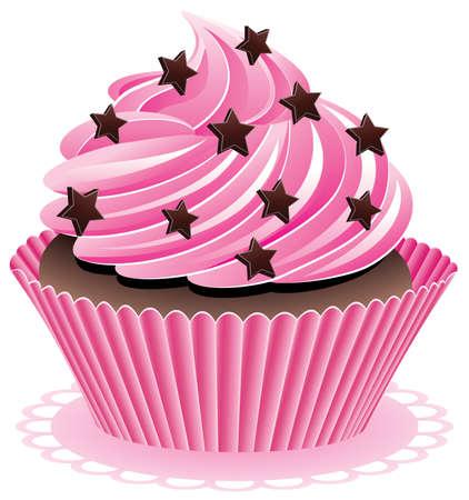 sprinkles: vector pink cupcake with chocolate sprinkles