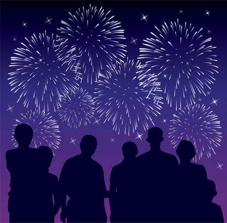 vector illustration of people watching fireworks Vector