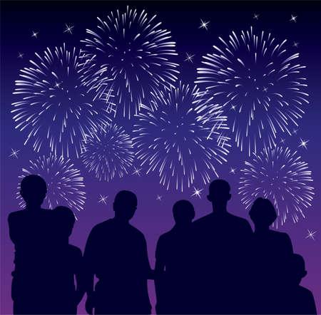 illustrazione vettoriale di persone che guardano fuochi d'artificio