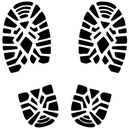 hiking boots: vector illustration of foot prints of a man Illustration
