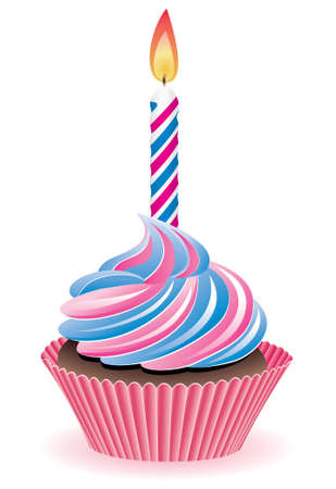 icing:  blue and pink cupcake with burning candle
