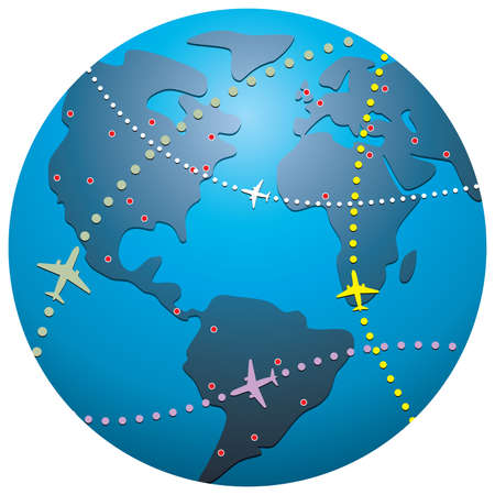 airliner:   airplane flight paths over earth globe Illustration