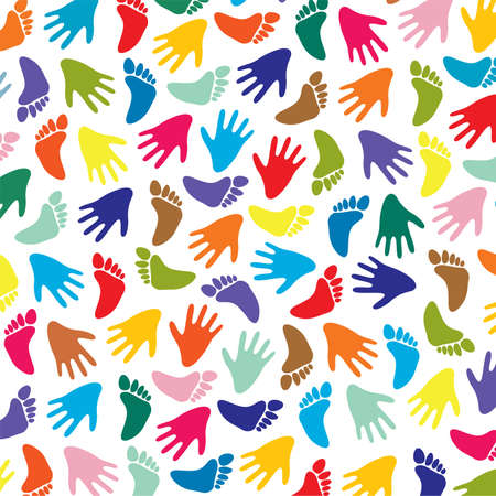 colorful feet and hands background Vector