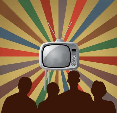 omroep:  illustratie van familie retro kijken tv instellen