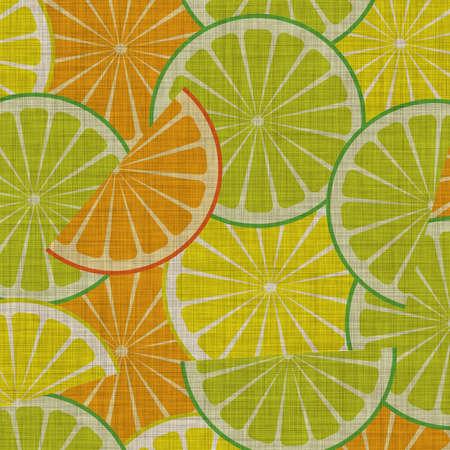 illustration of citrus slices on linen illustration