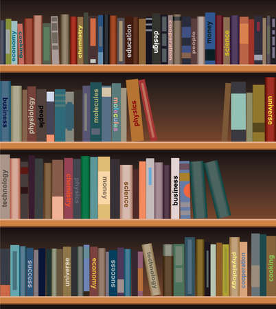 図書館: 木製の本棚の本  イラスト・ベクター素材