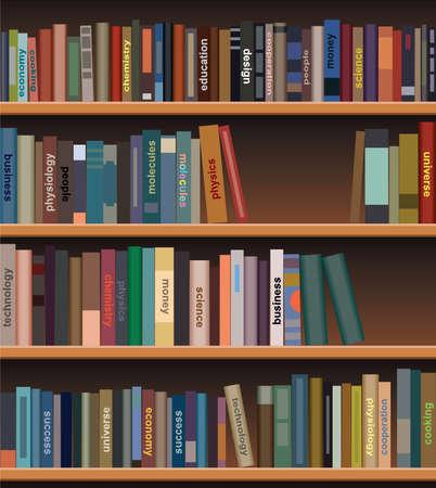 biblioteca: estanter�a de madera con libros Vectores
